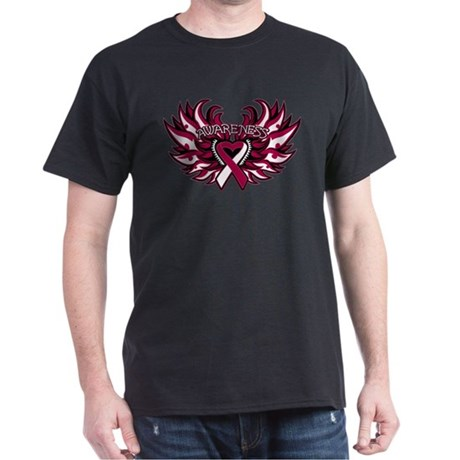 Throat Cancer Heart Wings Dark T-Shirt