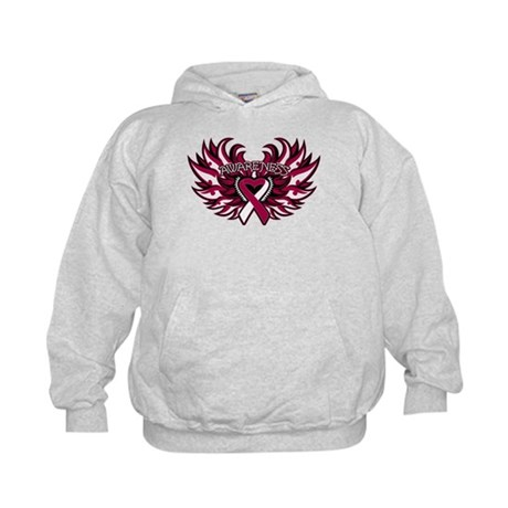 Throat Cancer Heart Wings Kids Hoodie