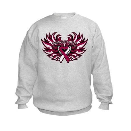 Throat Cancer Heart Wings Kids Sweatshirt
