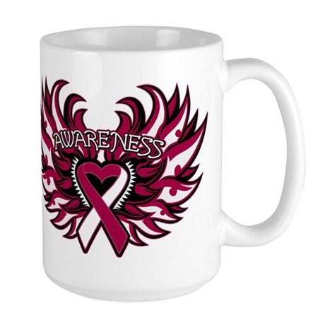 Throat Cancer Heart Wings Large Mug