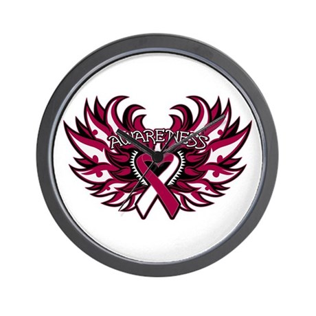 Throat Cancer Heart Wings Wall Clock