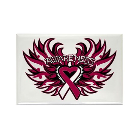 Throat Cancer Heart Wings Rectangle Magnet
