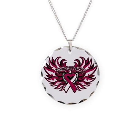 Throat Cancer Heart Wings Necklace Circle Charm