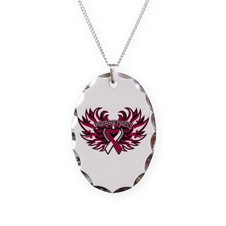 Throat Cancer Heart Wings Necklace Oval Charm