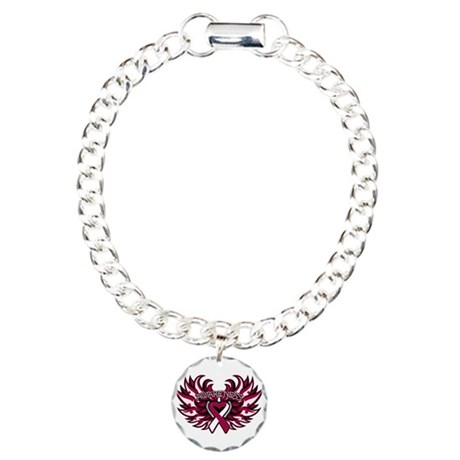 Throat Cancer Heart Wings Charm Bracelet, One Char