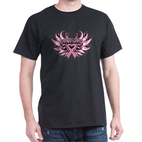 Breast Cancer Heart Wings Dark T-Shirt