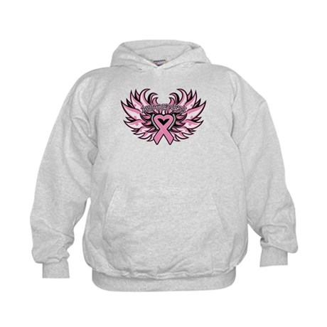 Breast Cancer Heart Wings Kids Hoodie