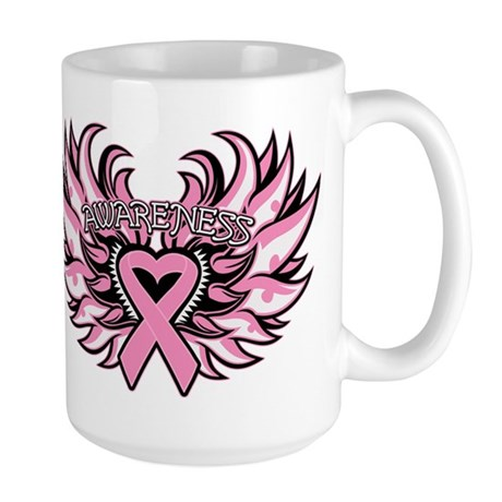 Breast Cancer Heart Wings Large Mug