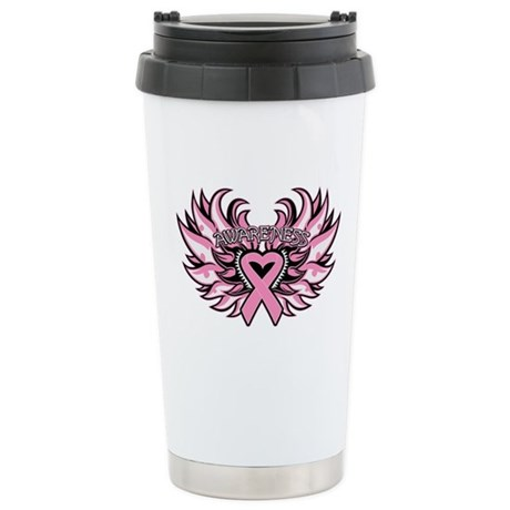 Breast Cancer Heart Wings Ceramic Travel Mug