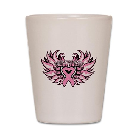 Breast Cancer Heart Wings Shot Glass