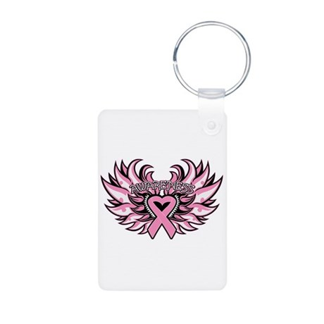 Breast Cancer Heart Wings Aluminum Photo Keychain