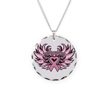 Breast Cancer Heart Wings Necklace Circle Charm