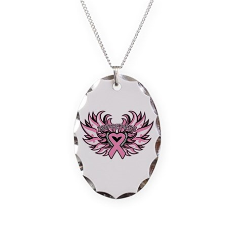 Breast Cancer Heart Wings Necklace Oval Charm
