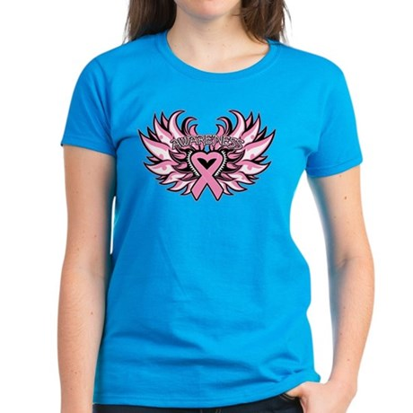 Breast Cancer Heart Wings Women's Dark T-Shirt