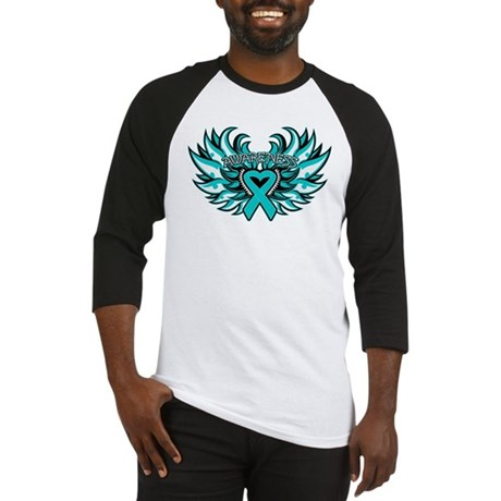 Ovarian Cancer Heart Wing Baseball Jersey