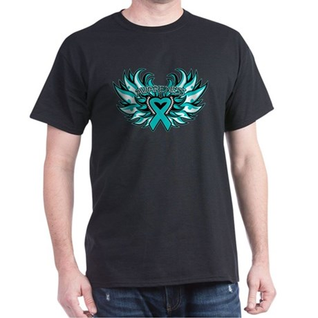 Ovarian Cancer Heart Wing Dark T-Shirt