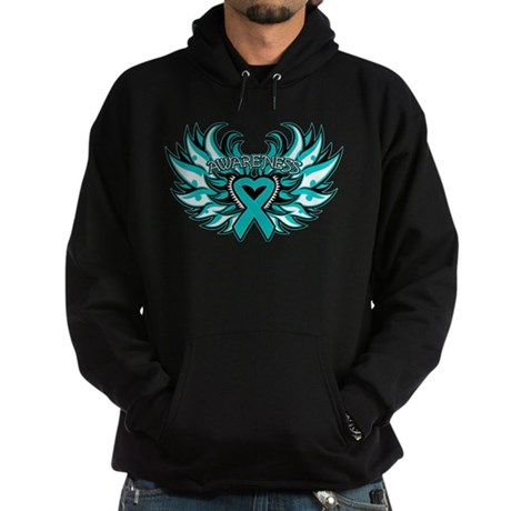 Ovarian Cancer Heart Wing Hoodie (dark)