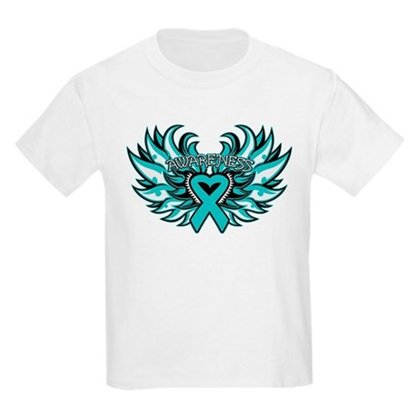 Ovarian Cancer Heart Wing Kids Light T-Shirt