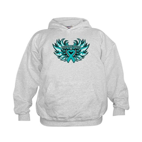 Ovarian Cancer Heart Wing Kids Hoodie
