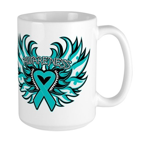 Ovarian Cancer Heart Wing Large Mug