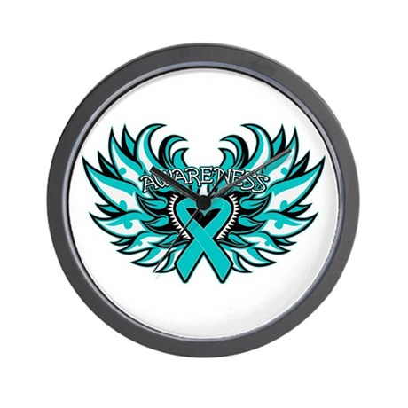 Ovarian Cancer Heart Wing Wall Clock