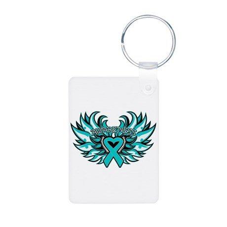 Ovarian Cancer Heart Wing Aluminum Photo Keychain