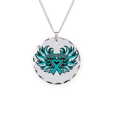 Ovarian Cancer Heart Wing Necklace Circle Charm