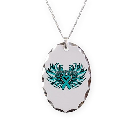 Ovarian Cancer Heart Wing Necklace Oval Charm