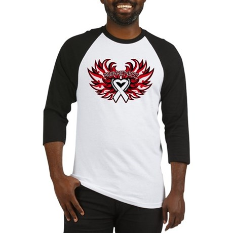Lung Cancer Heart Wings Baseball Jersey