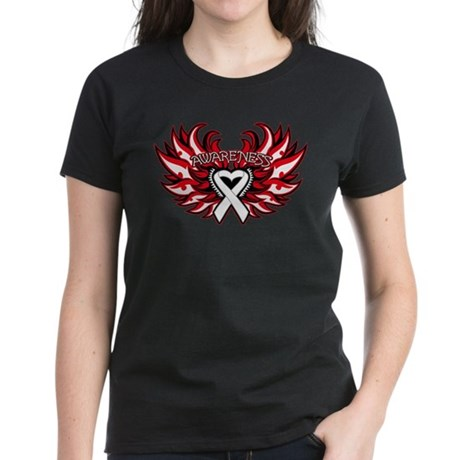Lung Cancer Heart Wings Women's Dark T-Shirt