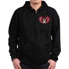 Lung Cancer Heart Wings Zip Hoodie