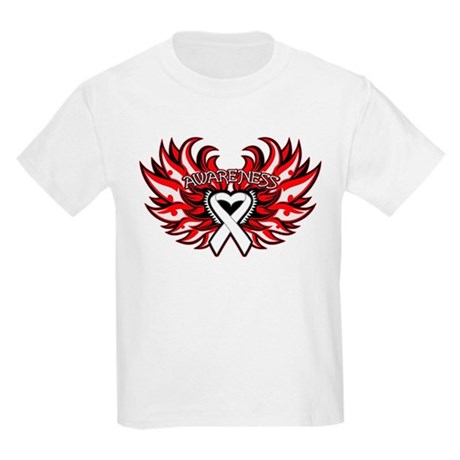 Lung Cancer Heart Wings Kids Light T-Shirt