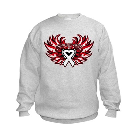 Lung Cancer Heart Wings Kids Sweatshirt