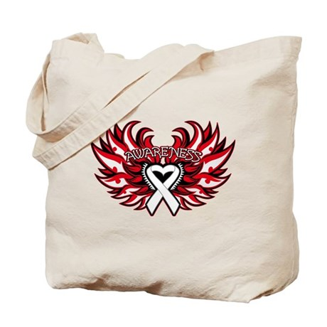 Lung Cancer Heart Wings Tote Bag