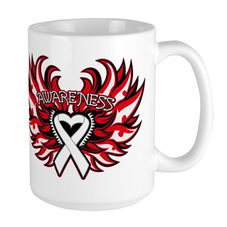 Lung Cancer Heart Wings Large Mug