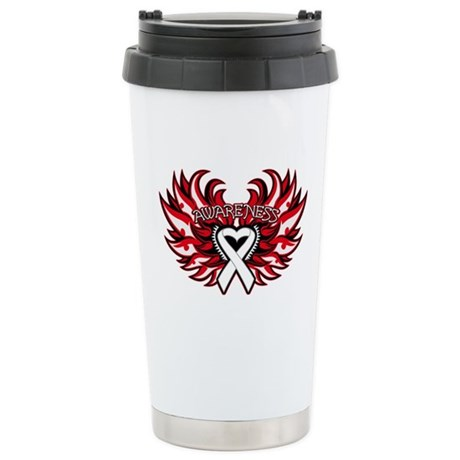 Lung Cancer Heart Wings Ceramic Travel Mug