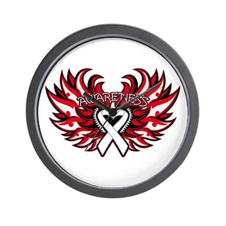 Lung Cancer Heart Wings Wall Clock