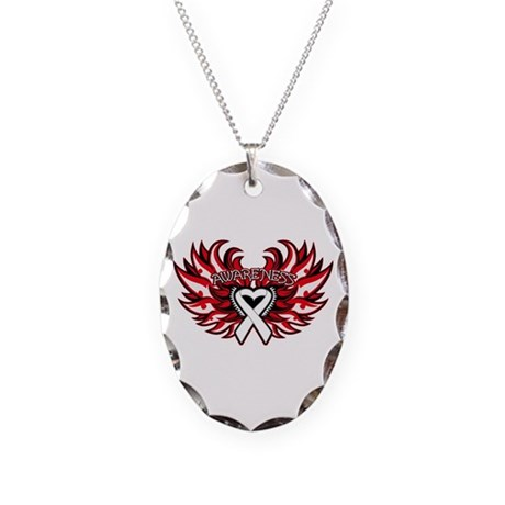 Lung Cancer Heart Wings Necklace Oval Charm