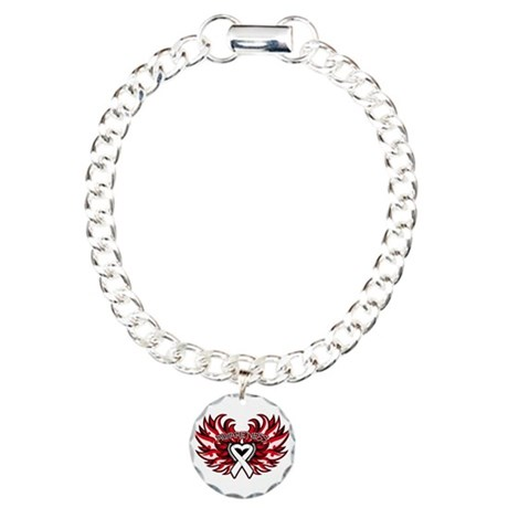 Lung Cancer Heart Wings Charm Bracelet, One Charm