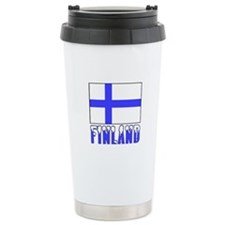 Finland Flag Name Snow Ceramic Travel Mug