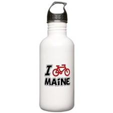 I Love Cycling Maine Water Bottle