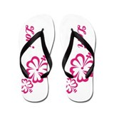 Pink Floral Personalized Flip Flops Shoes Custom