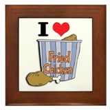 I Heart (Love) Fried Chicken Framed Tile