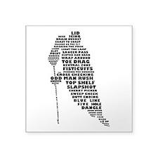 "Language of Hockey (skater) Square Sticker 3"""
