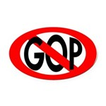 Red Slash Through GOP Oval Car Magnet
