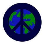 Earth Peace Sign Round Car Magnet
