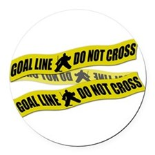 Hockey Crime Tape Round Car Magnet