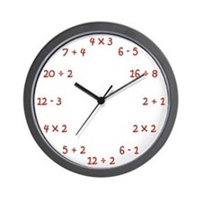 Elementary Wall Clock in Red Wall Clock