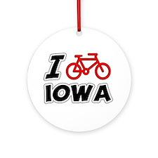 I Love Cycling Iowa Ornament (Round)