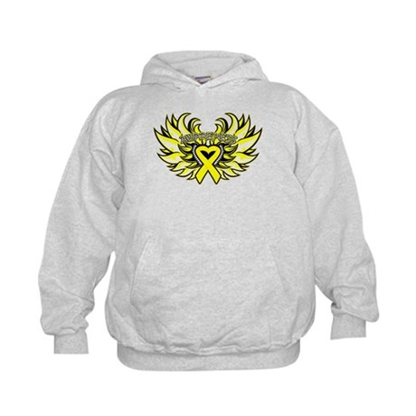 Testicular Cancer Heart Wings Kids Hoodie